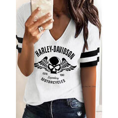 Figure Print Striped V-Neck Short Sleeves T-shirts