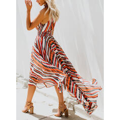 Print/Striped Sleeveless A-line Casual Midi Dresses