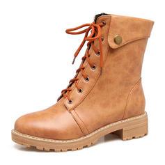 Femmes Similicuir Talon bas Bottes Bottes mi-mollets Martin bottes avec Dentelle chaussures