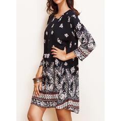 Print/Floral Long Sleeves Shift Above Knee Casual/Boho/Vacation Dresses