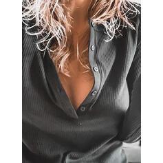 Egyszínű V-nyak Hosszú ujjú Gombos Hétköznapokra robić na drutach Μπλούζες