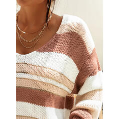 Striped Chunky knit V-Neck Casual Sweaters
