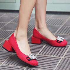 Bayanlar Süet Tıknaz Topuk Pompalar Kapalı Toe Ile Yapay elmas ayakkabı