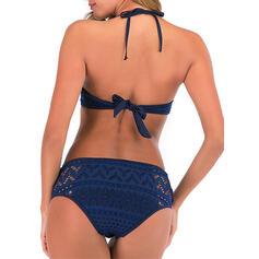 Aushöhlen Gittergewebe Schnüren Neckholder Trägerlos Stehkragen Ausschnitt Sexy Elegant Klassisch Bikinis Bademode