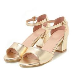 De mujer Cuero Tacón ancho Sandalias Salón Encaje con Hebilla zapatos