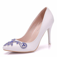 Women's Leatherette Spool Heel Closed Toe Flats With Crystal
