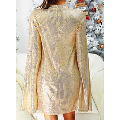 Sequins Long Sleeves/Split Sleeve Shift Knee Length Party/Elegant Dresses