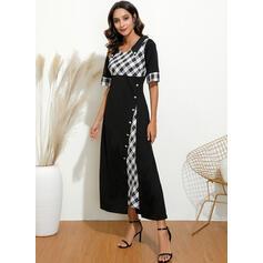 Plaid 1/2 Sleeves A-line Casual/Elegant Maxi Dresses