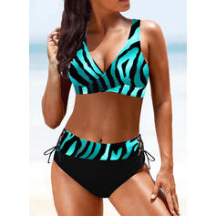Hög Midja Tryck Rem V-ringning Sexig Vintage Extra stor storlek bikini Badkläder