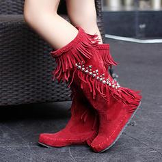Frauen Veloursleder Flascher Absatz Stiefel Stiefel-Wadenlang mit Quaste Schuhe