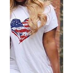 Druck/Herz Kurze Ärmel Figurbetont Asymmetrisch Freizeit T-Shirt Kleider