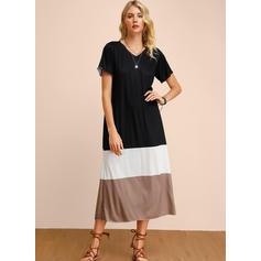 Color-block Short Sleeves Shift Midi Casual Dresses