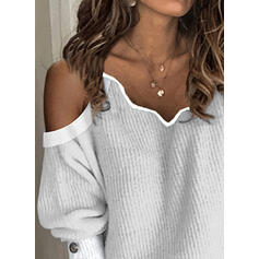 Solide Cold Shoulder Casual Truien