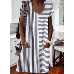 Striped Short Sleeves Shift Knee Length Casual T-shirt Dresses