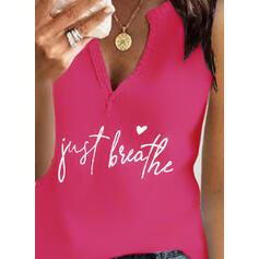 Serce Nadruk Wytłaczany Dekolt w kształcie litery V Bez Rękawów Koszulki bez rękawów