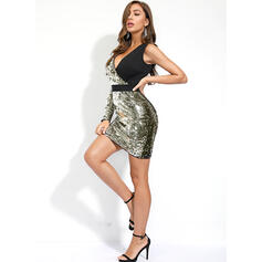 Sequins Long Sleeves Bodycon Above Knee Party/Elegant Dresses