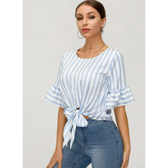 Striped Round Neck Flare Sleeve 1/2 Sleeves Casual Elegant Blouses