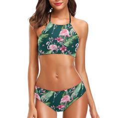 Fleuris Taille Basse Feuilles Dos Nu Sexy Attrayant Bikinis Maillots De Bain