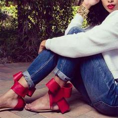Women's PU Flat Heel Sandals Flats Peep Toe With Bowknot shoes