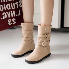 Frauen Kunstleder Niederiger Absatz Geschlossene Zehe Stiefel Stiefelette Stiefel-Wadenlang mit Niete Schnalle Schuhe