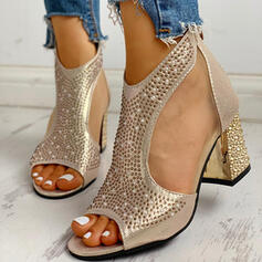 Women's PU Chunky Heel Sandals Pumps Peep Toe Heels With Rhinestone Zipper shoes