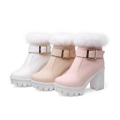 Mulheres Couro Salto robusto Plataforma Bota no tornozelo com Fivela Pele Sintetica sapatos