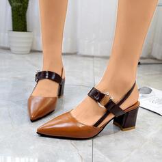 Femmes PU Talon bottier Escarpins Bout pointu avec Boucle Ouvertes chaussures