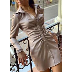 Solid Long Sleeves Bodycon Above Knee Little Black/Elegant Shirt Dresses