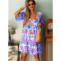 Print/Floral 1/2 Sleeves Shift Knee Length Casual/Vacation Tunic Dresses