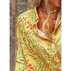 Εκτύπωση Φλοράλ Πετό Μακρυμάνικο Χωρίς Κουμπιά Κολάρου Καθημερινό Блузки