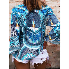 Print V-hals Flare Mouw Lange Mouwen Casual Overhemd