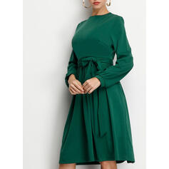Solid 3/4 Sleeves A-line Knee Length Vintage/Casual/Elegant Dresses