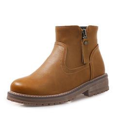 Bayanlar suni deri Düz topuk platform bot ayakkabı Ayak bileği çizmeler ayakkabı