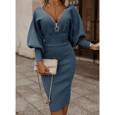 Solid Long Sleeves/Lantern Sleeve Bodycon Knee Length Little Black/Elegant Pencil Dresses
