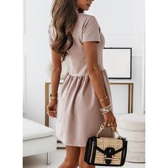 Solid Short Sleeves A-line Above Knee Casual/Elegant Skater Dresses