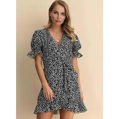Print Short Sleeves A-line Above Knee Casual/Elegant/Vacation Dresses