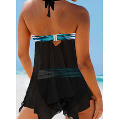 Risca Frente-única Sexy Vestidos de banho Maiôs