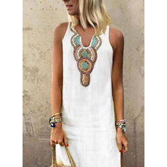 Print Sleeveless Shift Casual/Boho/Vacation Maxi Dresses