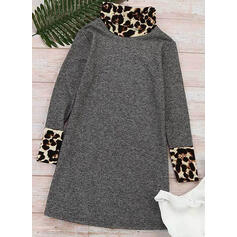Leopard Lange ermer Kvinnedrakt Overknee Casual Tunika Kjoler