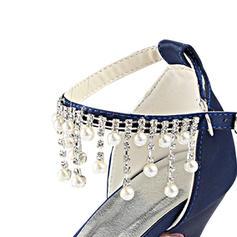 8b5d05448cc ... Women s Silk Like Satin Stiletto Heel Peep Toe Pumps With Crystal Pearl