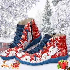 Donna PU Tacco basso Ballerine Martin boots con Cerniera Allacciato scarpe