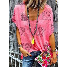 Print V-hals Korte ærmer T-shirts