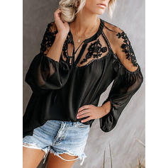 Lace V Neck Long Sleeves Casual Elegant Blouses