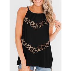 Patchwork Leopard Round Neck Sleeveless Casual Tank Tops