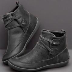 婦人向け PU フラットヒール フラッツ クローズトゥー ブーツ アンクルブーツ とともに バックル 靴