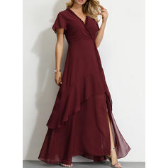 Solid Short Sleeves A-line Party/Elegant Maxi Dresses