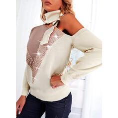 Trozos de color Lentejuelas Cuello Alto Casual Suéteres