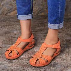 De mujer PU Tacón ancho Sandalias con Velcro zapatos