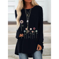Print Floral Round Neck Long Sleeves Casual Knit Blouses