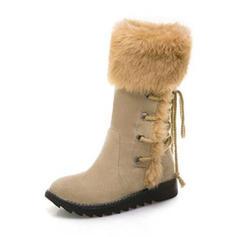 Femmes Suède Talon plat Bottes Bottes mi-mollets Bottes neige avec Dentelle chaussures